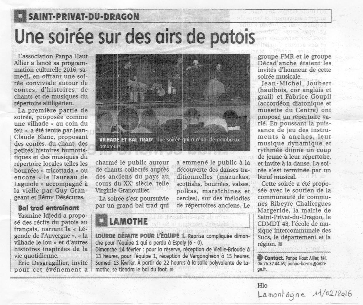 Revue de presse : Vilhade et bal trad' à St-Privat-du-Dragon