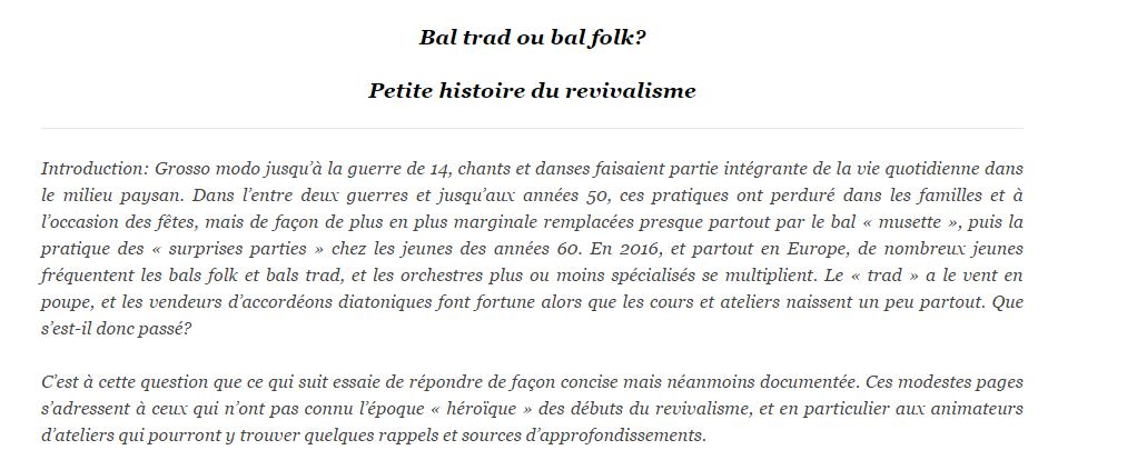 """Bal trad ou bal folk"", une publication de Daniel Giffard"