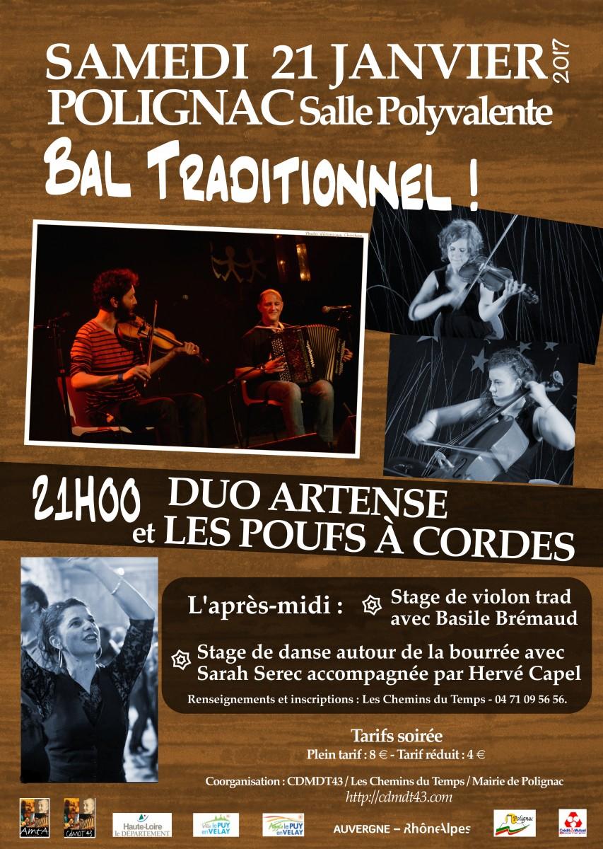 Stage et bal traditionnel avec Duo Artense et Les Poufs à Cordes