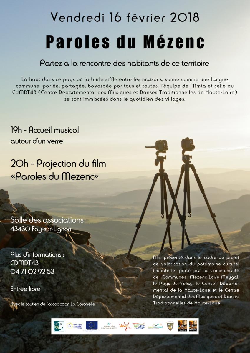 """Projection du film """"Paroles du Mézenc"""" – Vendredi 16 Février Fay-sur-Lignon 19h"""