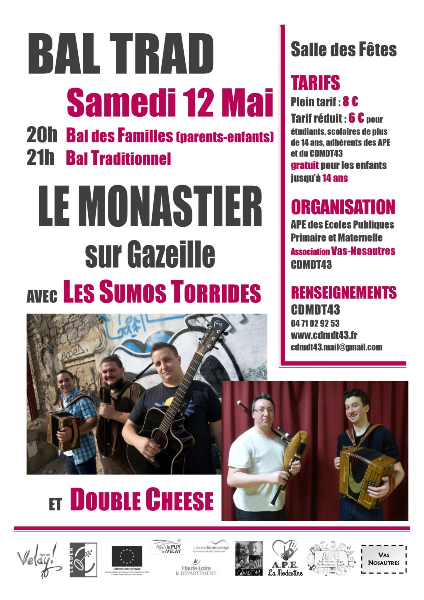 Bal trad – 12 Mai Le Monastier sur Gazeille 20h