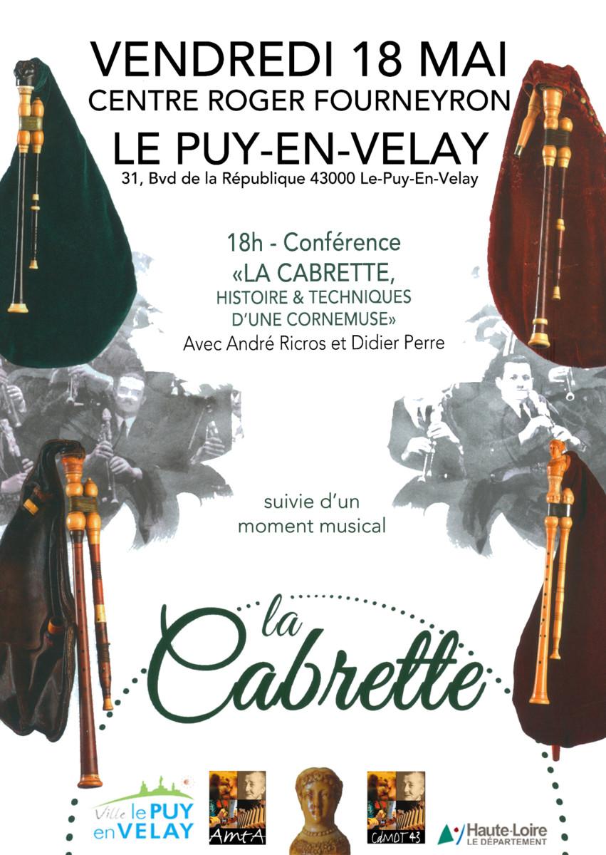 """Présentation de l'ouvrage """"La cabrette, histoire et technique d'une cornemuse"""" – Vendredi 18 Mai Centre Roger Fourneyron 18h"""