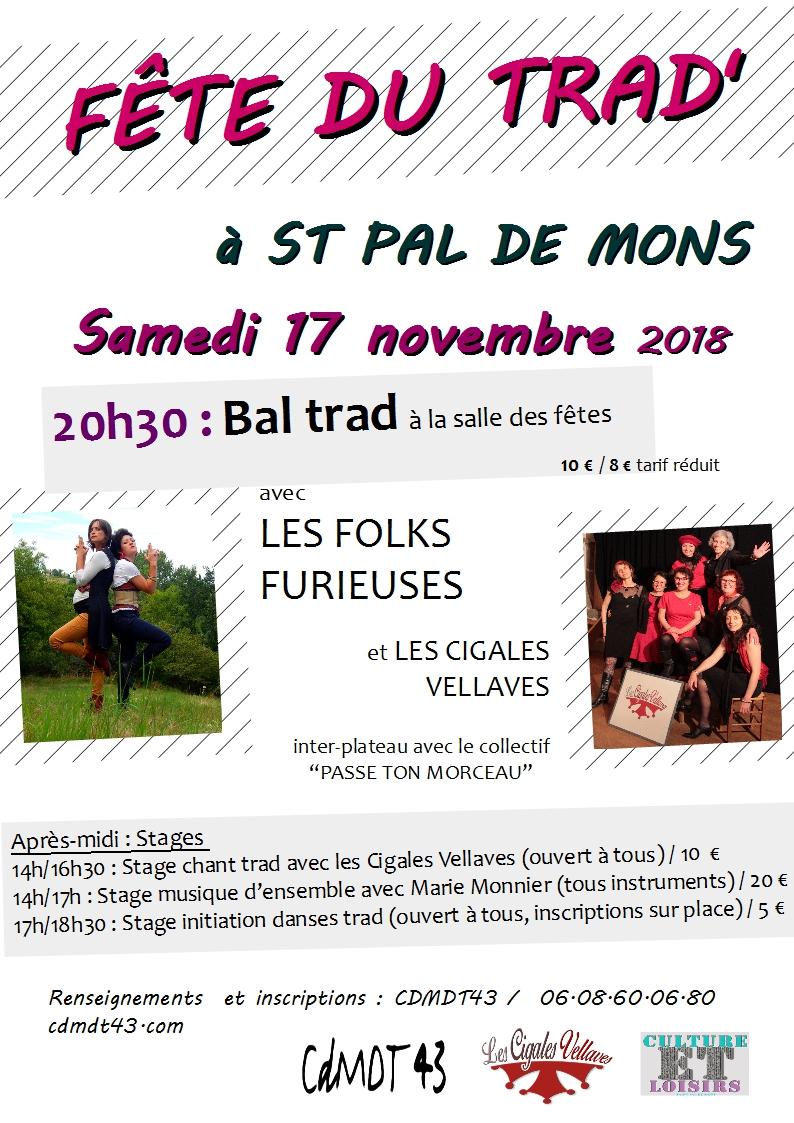 Fête du trad' à Saint Pal de Mons le 17 novembre 2018