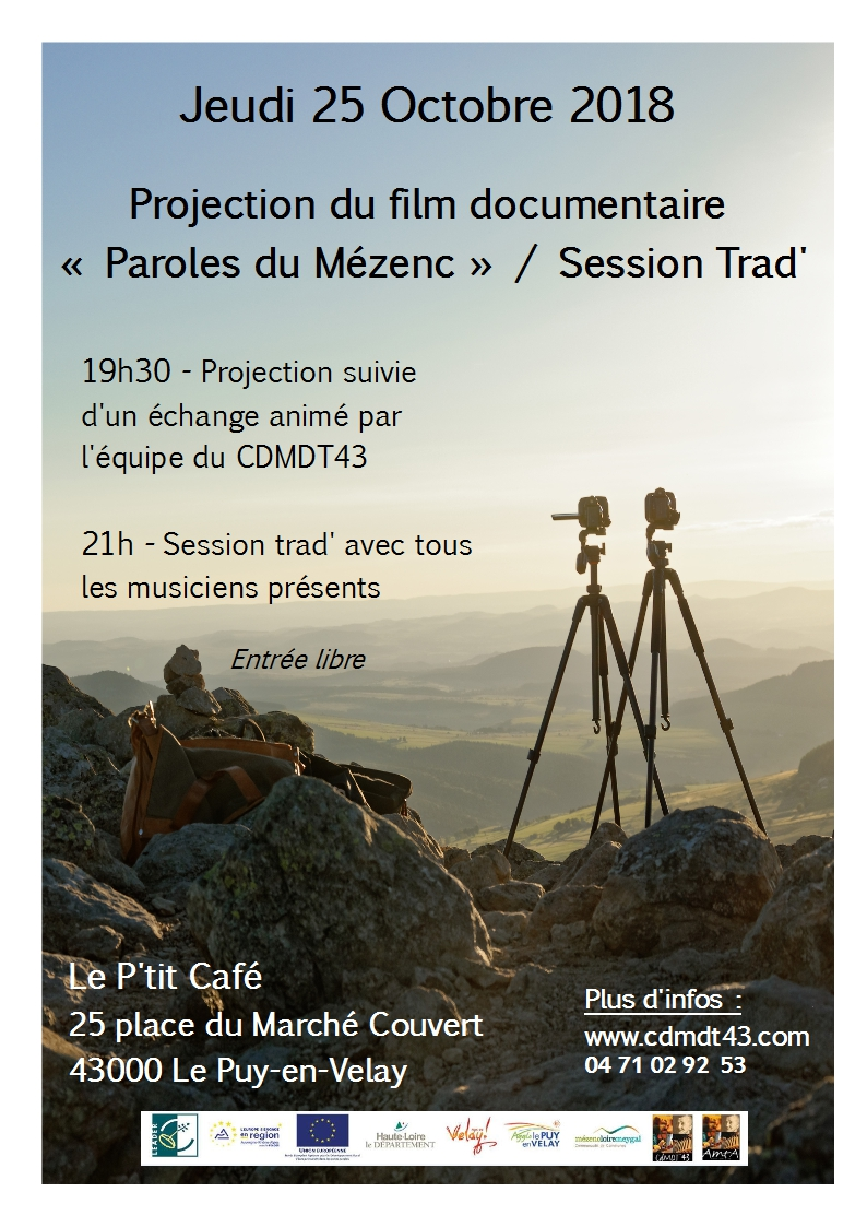 """Projection film """"Paroles du Mézenc"""" + Session Trad' au Puy en Velay"""
