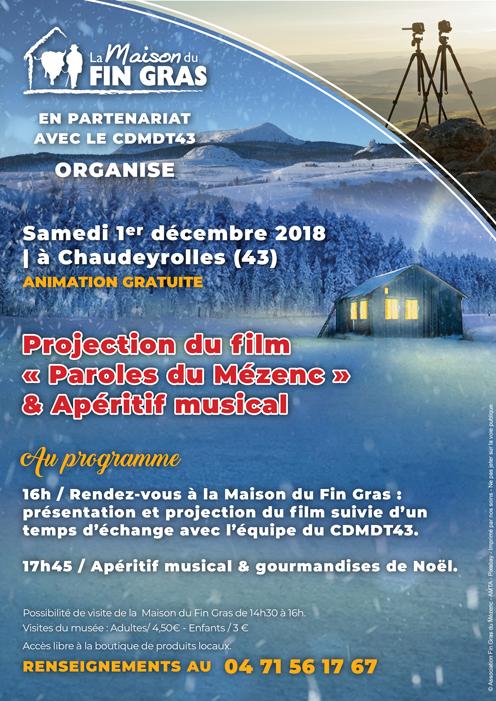 """Projection """"Paroles du Mézenc"""" & Apéro musiques traditionnelles le 1er décembre (Chaudeyrolles)"""