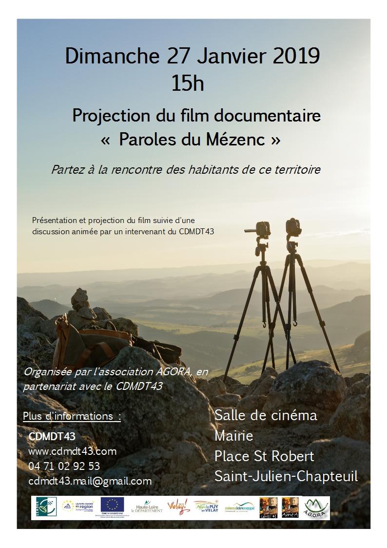 """Projection du film """"Paroles du Mézenc"""" (Saint-Julien-Chapteuil)"""