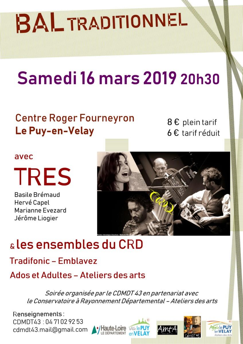 Bal trad' avec les ensembles du CRD et le groupe Tres (Le Puy-en-Velay)