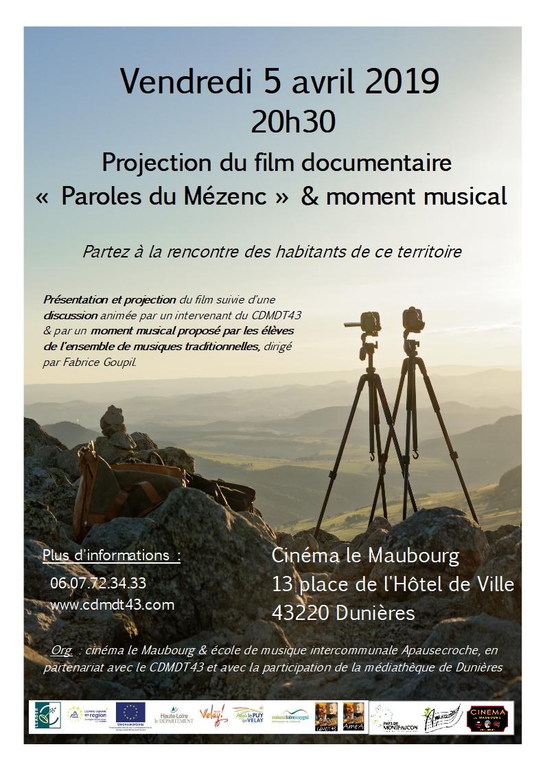 """Projection du film """"Paroles du Mézenc"""" & moment musical (Dunières)"""