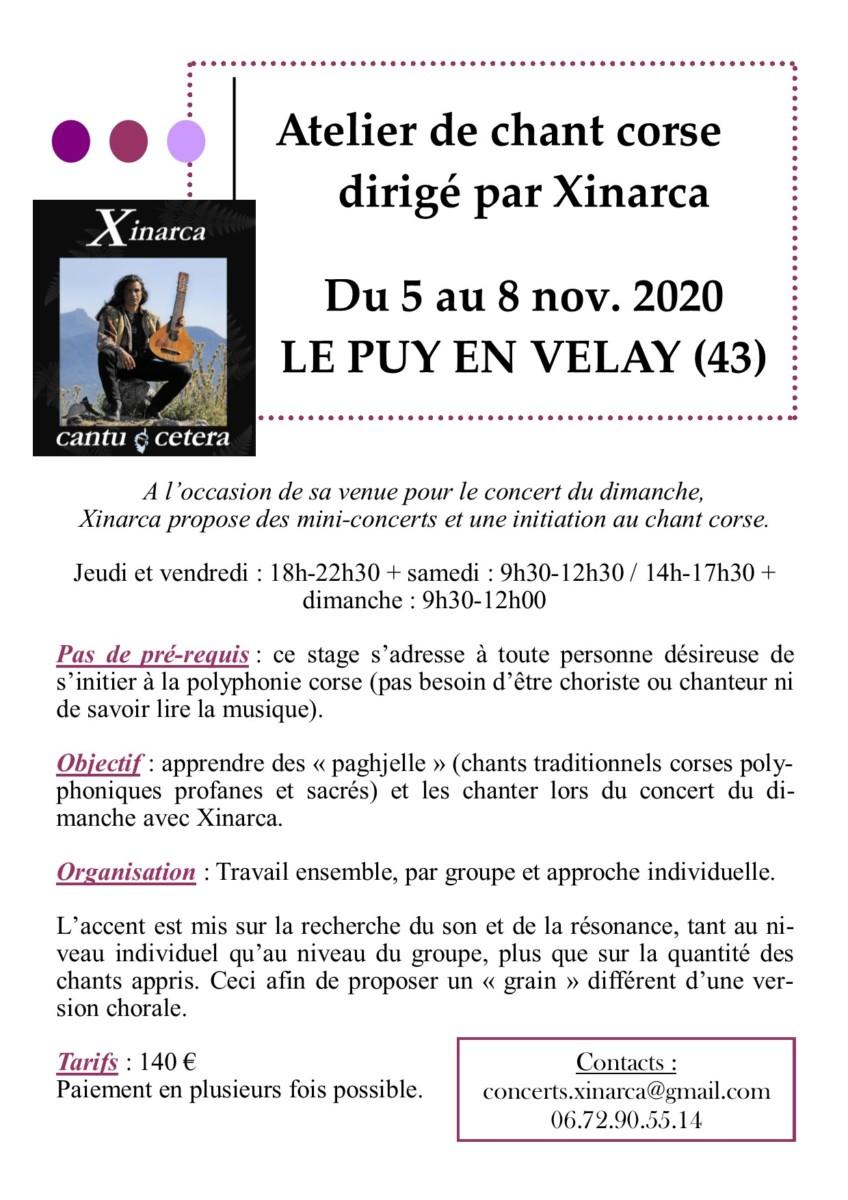 Atelier de chant Corse dirigé par Xinarca et concert – ANNULES